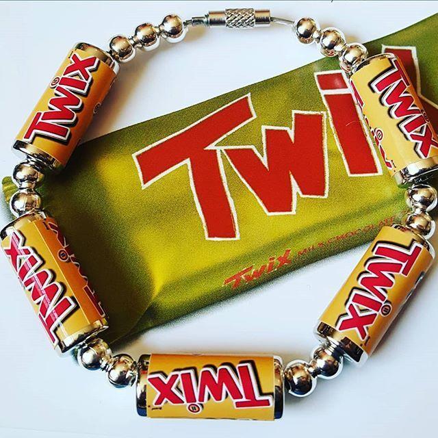 Unique Twix Bracelet Cool Chocolate Bar Food Jewellery Retro Caramel Handmade