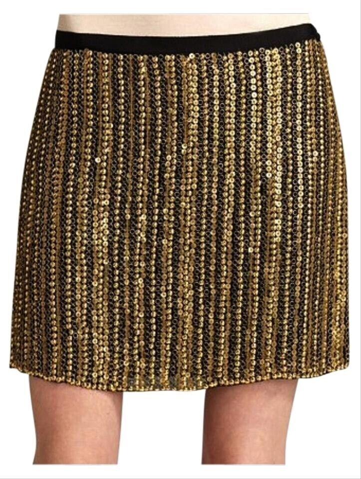THEORY 100% Silk And Brass Skirt Size 6 XS