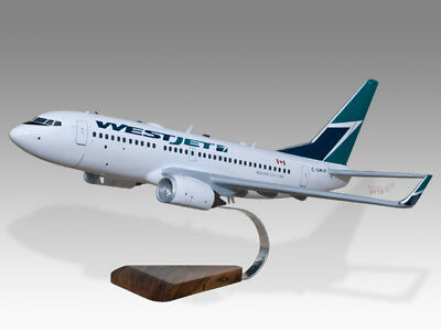 100% Quality Boeing 737-700 Westjet Solid Mahogany Wood Handcrafted Airplane Desktop Model