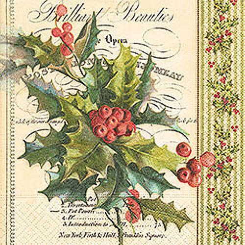Navidad 4 Solo Papel Decoupage Servilletas Navidad Acebo Invierno-x175