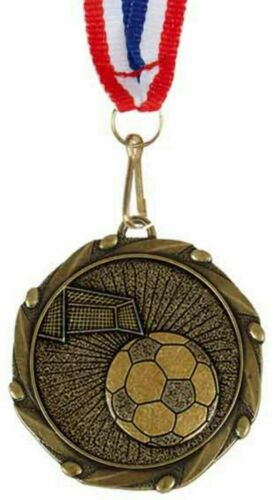 G Personalised Football /& Nets Medal and Ribbon ENGRAVED FREE
