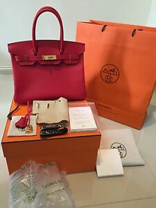 Hermes Birkin 30 New Auth Rouge Casaque Hot Red Epsom Leather Gold ... edb3319a9d5c