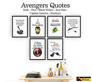Avengers-Hero-Quote-Poster-Prints-ONLY-A4-Size-Thor-Hulk-Iron-Man-Movies-Marvel