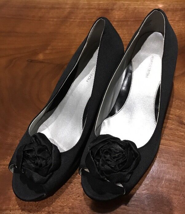 Nordstrom Black Fabric Evening Heel w/Bow Open Toed 2