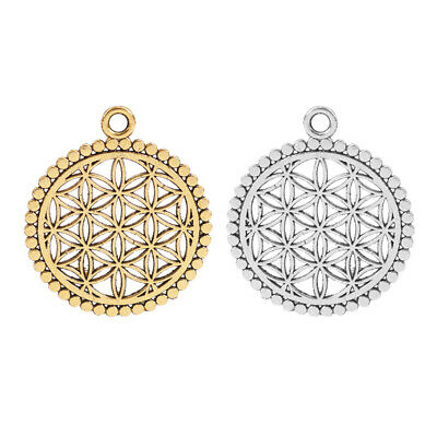 20 x Silver//Gold Tone Flower of Life Circle Charms Pendants for Jewellery Making