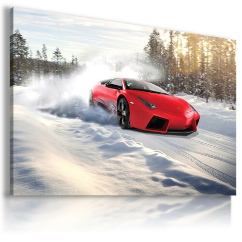 LAMBORGHINI AVENTADOR RED Sports Car WINTER Large Wall Art Canvas AU506 MATAGA