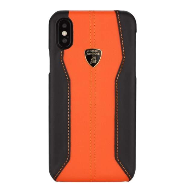 san francisco 800f3 cc435 Lamborghini Huracan D1 Premium Leather Hard Case for iPhone X - Orange