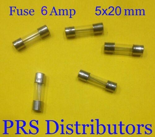 Fuse 6A 250V  Fuse 5X20mm Glass Fuse 6 Amp 250 Volt 5 pieces USA SELLER