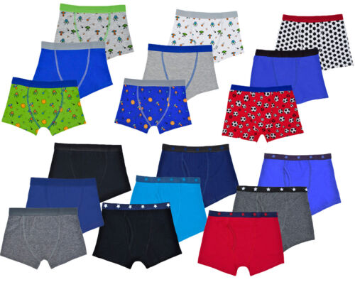 Boys Kids 3 Pack  Boxer Briefs  Shorts Underwear Classic Design School Age 2-13