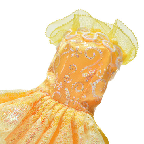 """1 Pcs Yellow Handmade Wedding Lace 4 Layers Dress for 11/"""" s PLF"""