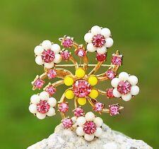 CORO signed Cherry blossom flowers gold tone pink white rhinestones   BROOCH