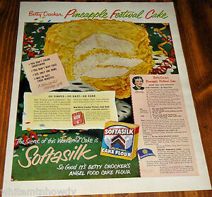 1950 SOFTASILK Baking AD Milk Glass Cake Plate Retro