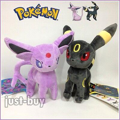 "2PCS Pokemon Espeon & Umbreon Plush Soft Toy Stuffed Animal Cuddly Doll Teddy 9"""