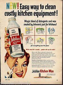 Image Is Loading 1953 Jubilee Johnson 039 S Kitchen Wax Ad