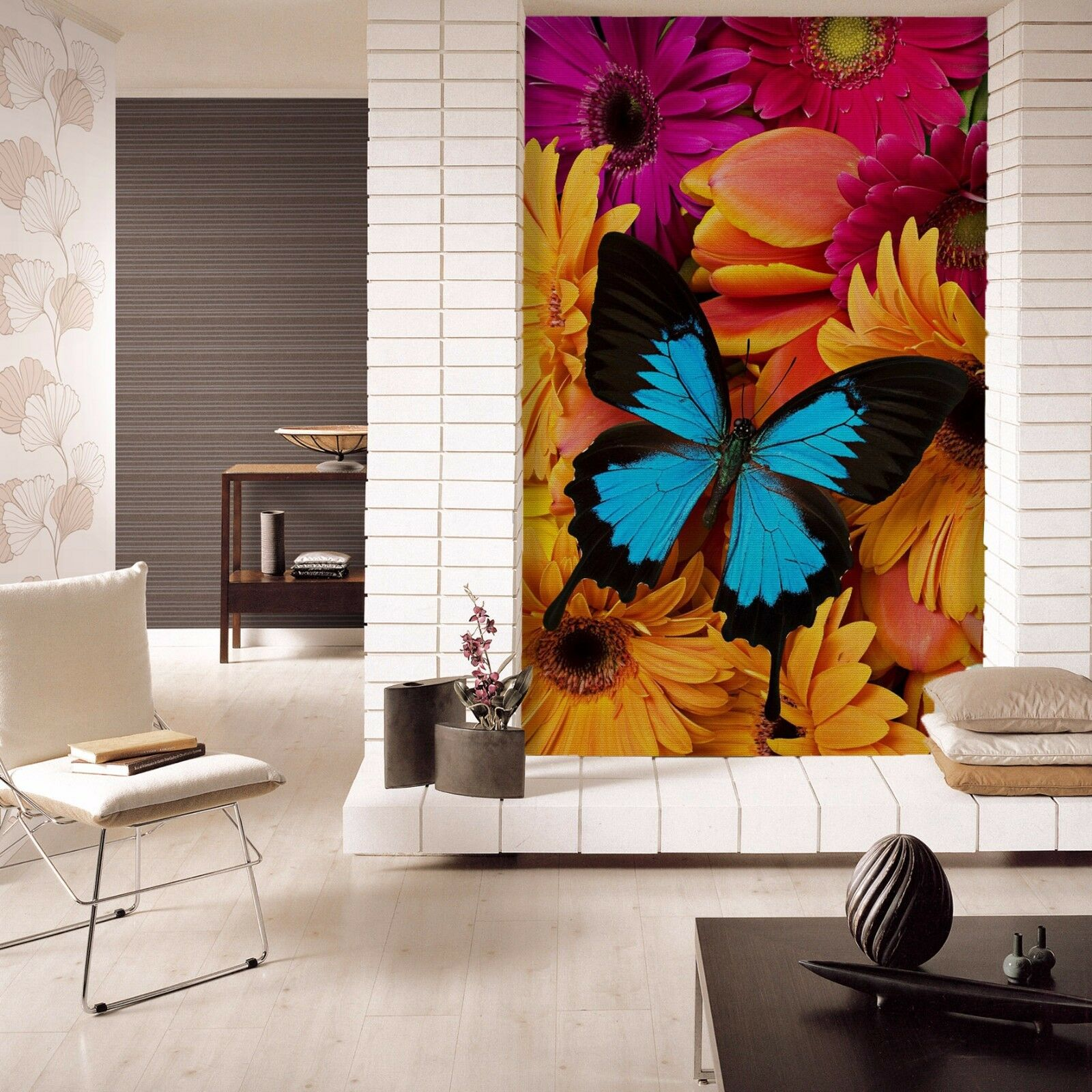 3D Flowers Butterfly 01 WallPaper Murals Wall Print Decal Wall Deco AJ WALLPAPER