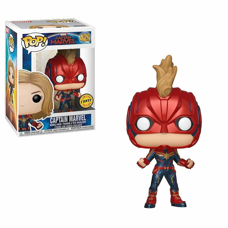 Funko Pop  Marvel  Captain Captain Captain Marvel - Captain Marvel Masked Chase Bobblehead 54068d