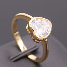 Cute Heart Crystal CZ 24K Gold Plated Women Wedding Engagement Ring Jewelry Sz 8