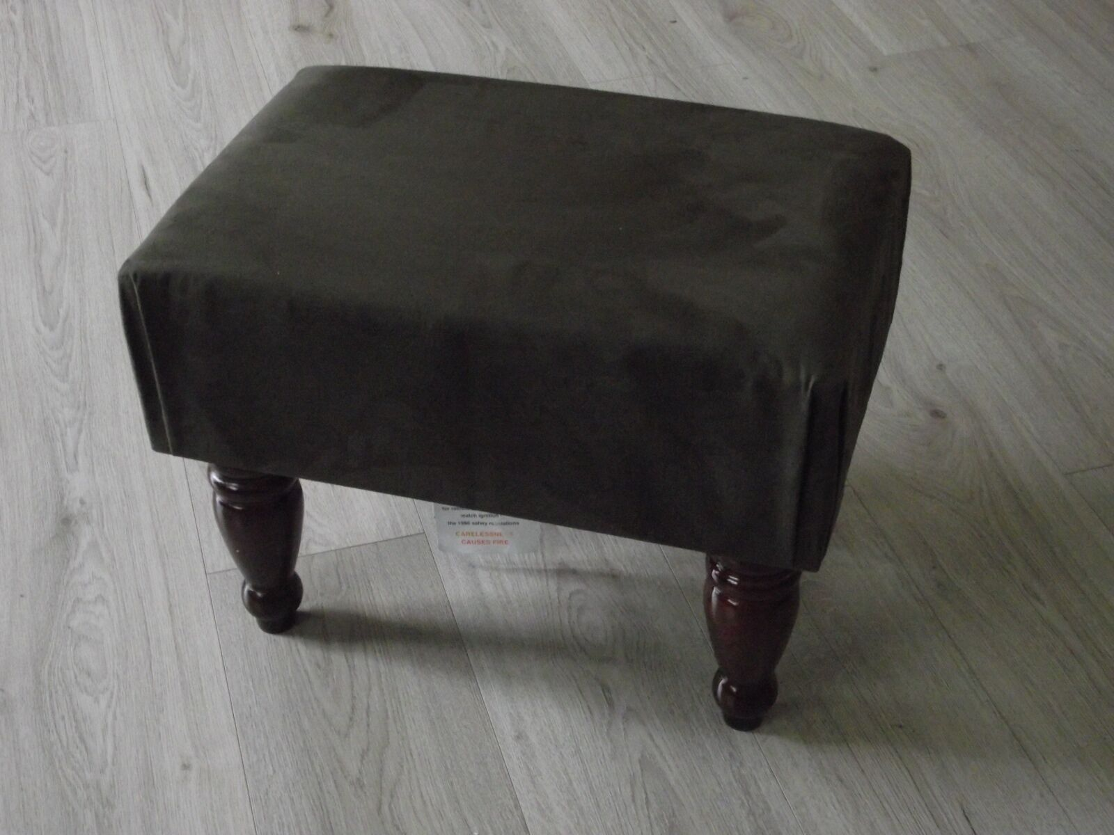 Dark braun faux suede footstool solid frame various leg choices upholsterot top