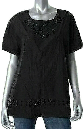 DKNY schwarz Embellished Beaded Detail Shirt Top L