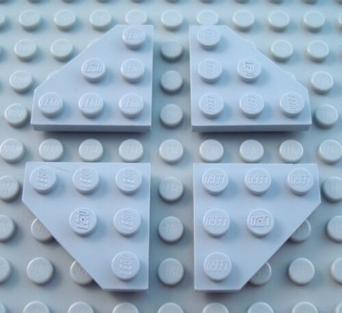 LEGO Lot of 4 Light Bluish Gray 3x3 Cut Corner Plate Pieces