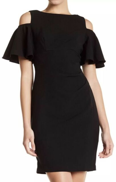 67d366cb06bb74 Eliza J LBD Black Cocktail Dress Cold Shoulder Ruffle Party Evening Sheath  Sz 10