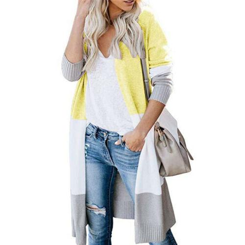 Women Loose Knitted Patchwork Cardigan Coat Long Sleeve Sweater Jumper Outwear