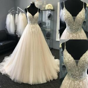 Details about Spaghetti Straps Wedding Dresses with Beads Custom Bridal  Dresses Plus Size