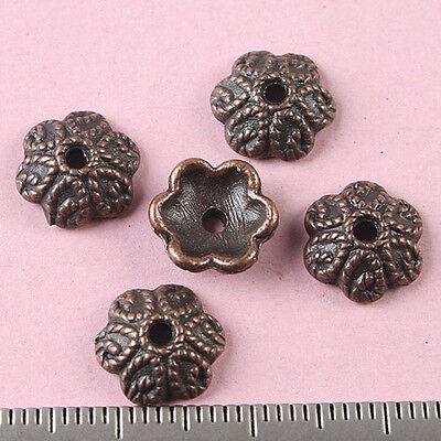 40pcs copper-tone flower beads cap h1807