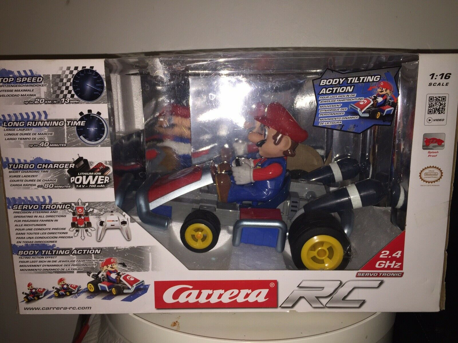 Mario Kart 7 Rc Car With Tilting Driver. Never Been Taken Out Of Box