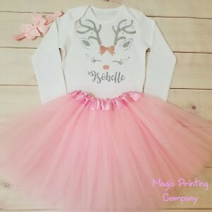 c47a54215 Image is loading Personalised-Baby-Girls-1st-Christmas-Reindeer-Outfit-Tutu-