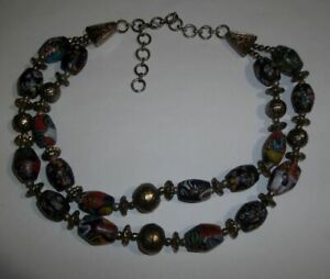 Vintage-Glass-Mosaic-amp-Silvertone-Beaded-Double-Layer-Necklace
