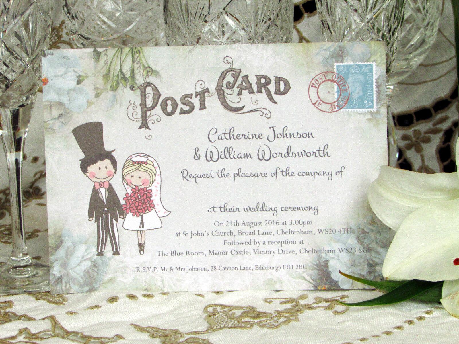 Personnalisé mariage invitations mignon couple fleur postcard design & enveloppes