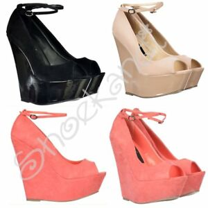 8a302fad9991 Womens Peep Toe Wedge Ankle Strap Suede Patent High Heel Black Nude ...