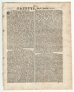 1701-Jan-8-French-Gazette-conflicts-in-Europe-beginning-2nd-Intercolonial-war