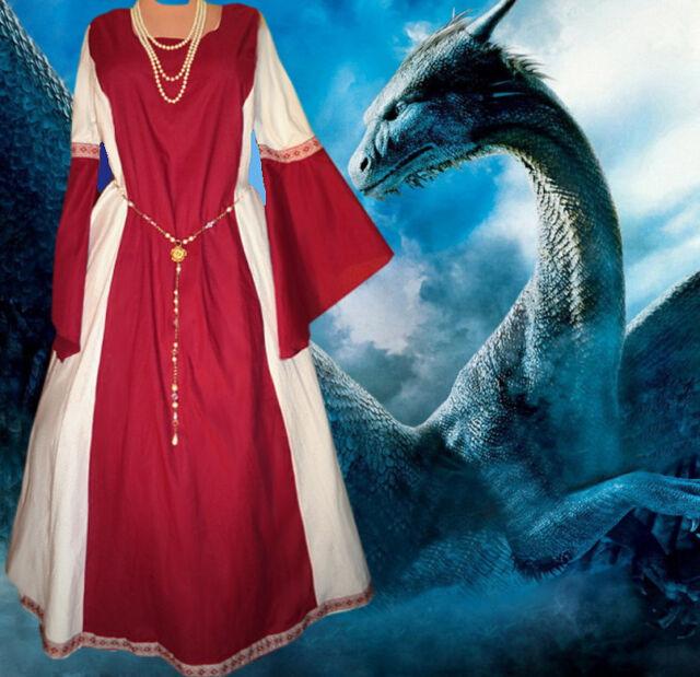 Medieval Gown SCA Garb Renaissance Costume Claret and White Particolor 1pc LXL