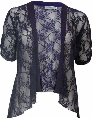 Womens Ladies 3//4 Sleeve Front Open Lace Diamante Detail Bolero Shrug Cardigan