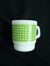 Vintage FIRE KING green white milkglass checkered gingham Mug stackable D handle
