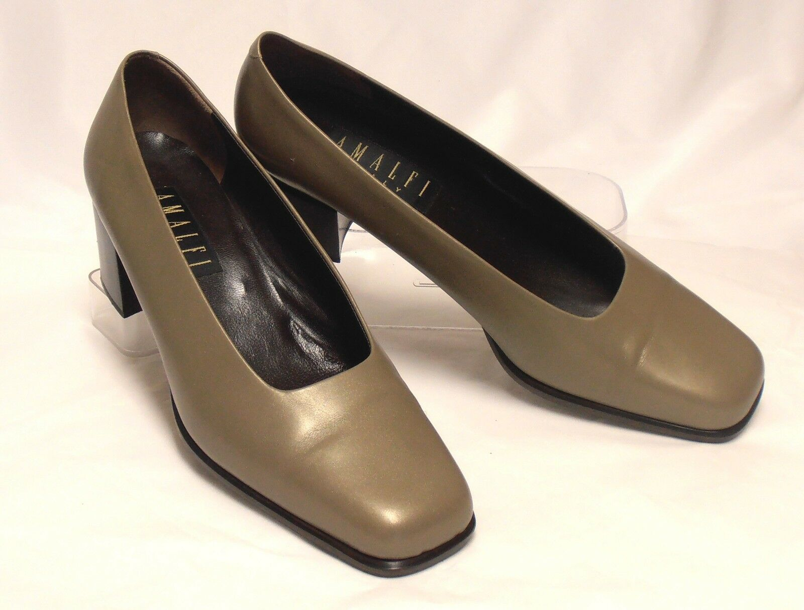 Italian AMALFI Size 10 M Shimmery Brown Leather Med-Heel Classic Dress Pumps