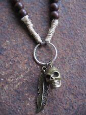 Männerkette Skull Halskette Kette braun Surfer Holz Herrenkette Hanf Totenkopf