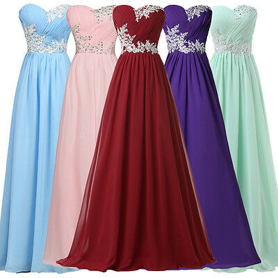CHEAP Strapless Beaded Chiffon Bridesmaid Evening Party Formal Long Prom Dresses
