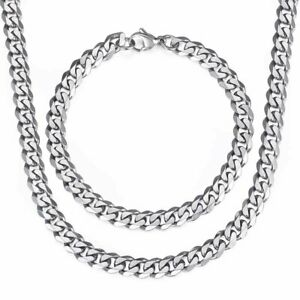 7MM-Necklace-Bracelet-Set-Curb-Cuban-Link-Stainless-Steel-Chain-Silver-For-Men