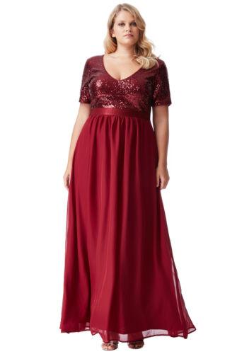 Goddiva Wine Short Sleeve Chiffon Sequin Maxi Evening Dress Formal Ball Gown