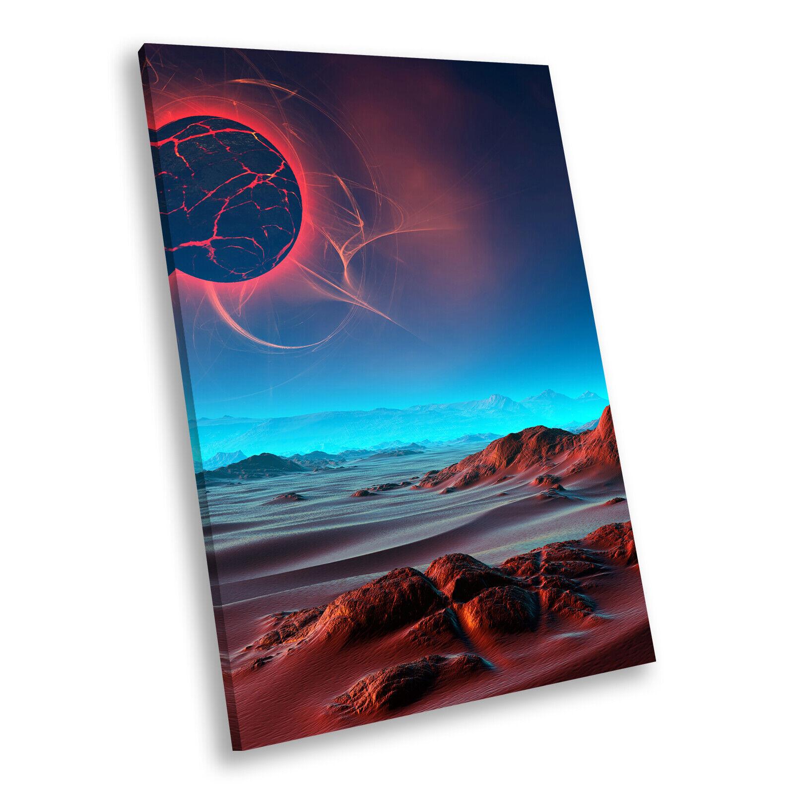 Blau rot Sci Fi Planet Cool Portrait Scenic Canvas Wall Art Large Picture Prints