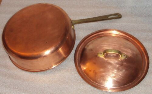 "Vtg Copper Sauce Pan or Pot with Lid Cover 9"" diameter x 3"""