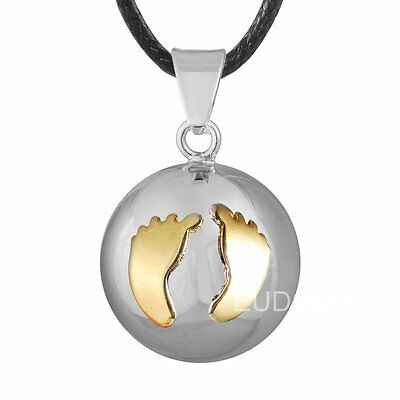 Cute Baby FEET Silver harmony chime ball Mexican bola Pregnancy pendant necklace