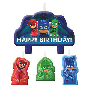 Image Is Loading PJ MASKS MINI CANDLE SET 4pc Birthday Party