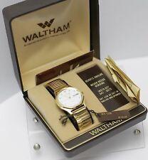 Rare NOS - Waltham Gold Tone Day Date Quartz Men's Dress Wrist Watch