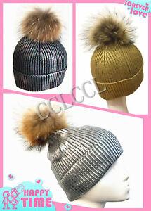 b7c06efa446 New Design Winter Metallic Foil Fur Big Pom Pom Hat Knit Beanie ...