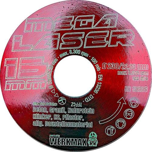 Mega Laser Diamant-Trennscheibe Ø 230 mm15 mm Turbo SegmentDiamantscheibe