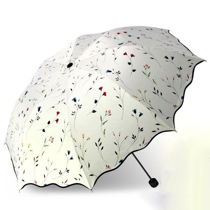 Women 3 Folding Flower Umbrella Anti-UV Sun Rain Protection Flower Parasol QN UK